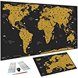 WIDETA Carte du monde à gratter Français, (82 x 43 cm)/ Poster plastifié...