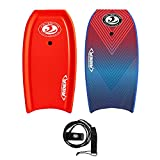 """CBC Rider 42"""" Pro Body Board - Bodyboard with Wrist Leash, Slick HDPE Bottom, Crescent Tail - Body Boards for The Beach with EPS Core Flexible PE Deck - BodyBoards for Adults, Kids, Teens (Red)"""