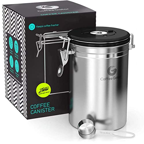 Product Image 1: Coffee Gator Stainless Steel Coffee Grounds and Beans Container Canister with Date-Tracker, CO2-Release Valve and Measuring Scoop, Large, Silver