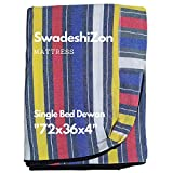 SwadeshiZon Cotton Mattress Protector / Cover Single Bed with Zip / Chain , (Multicolour, 72x36x4 inches / 3x6 Feet) Combo Set of 2