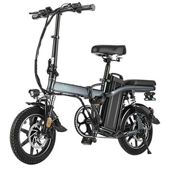 "FIIDO L2 Folding EBike, 350W Aluminum Electric Bicycle with Pedal for Adults and Teens, 14"" Electric Bike 15Mph with 48V/20AH Lithium-Ion Battery, Gray"