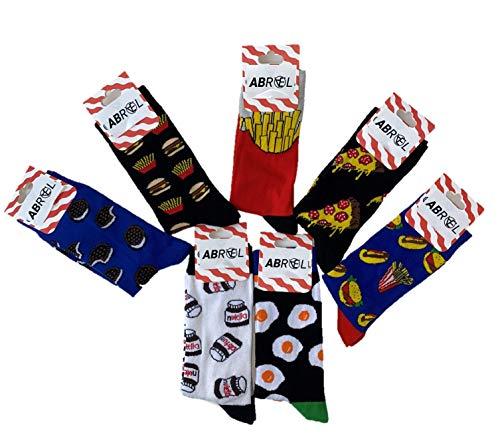 ABRAEL 7 paia di calzini a fantasia Nutella, Oreo, pizza, patatine fritte, hamburger, hot dog, frittata