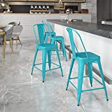 Flash Furniture Commercial Grade 24' High Crystal Teal-Blue Metal Indoor-Outdoor Counter Height Stool with Back