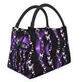 Purple Butterfly Lunch Bag Insulated Lunch Box Cooler Tote Bag For Women