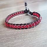 Ruby bracelets,red bracelets,stone bracelets,leather bracelets,men bracelets,women bracelets,fashion bracelets,4mm beads