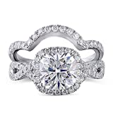 DovEggs Sterling Silver Center 2ct 7.5X7.5mm G-H-I Color Cushion Cut Created Moissanite Halo Engagement Ring Bridal Set 2 Pieces(9)