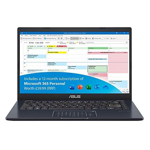 ASUS VivoBook with Microsoft Office 365 L410MA 14 Inch Full HD Laptop (Intel Celeron N4020, 4 GB...