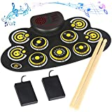 Electronic Drum Set Electronic Roll Up Practice Drum PadPortable Drum Kit with Built in Speakers Foot Pedals,Drum Sticks,13Hours Playtime Birthday Gift for Beginners &Kids