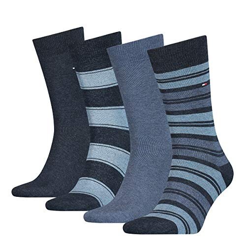 Tommy Hilfiger Th Men Sock 4p Stripe Tin Giftbox calze, jeans, 43/46 (Pacco da 4) Uomo