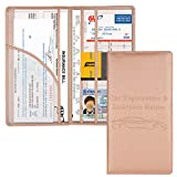 Car Registration and Insurance Holder, Vehicle Glove Box Car Organizer Men Women Wallet Accessories Case with Magnetic Shut for Cards, Essential Document, Driver License by Cacturism, Rose Gold