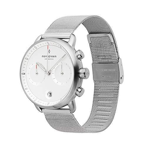 Nordgreen Pioneer skandinavische Herrenuhr in Silber mit Weißem Ziffernblatt und austauschbarem 42mm Mesh Armband Silber 14042