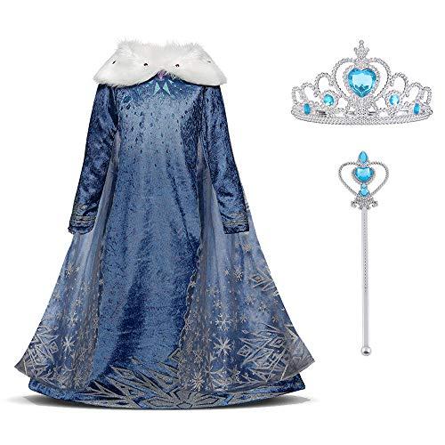 URAQT Elsa Vestito Set, Abito da Principessa per la Festa Invernale, Costume con Colletto in Peluche per 3-4 Anni