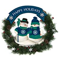 Seattle Mariners Team Snowman Christmas Wreath Garland pine cones and plastic snowflakes with a wooden sign on a wire frame with polyester plush snowman Seattle Mariners