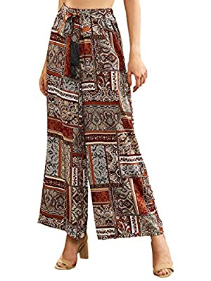 Material: 100% Rayon. Fabric has no stretch. Feature: Patchwork Tribal Print Wide Leg Pants, High Waist, Elastic Waist, Fringe, Loose, Casual Occasion: Best Choice for Vacation, Beach, Traveling, Festival, School, Campus, Date, Weekend Casual, Going ...