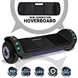 Beston Sports Newest Generation Electric Hoverboard Dual Motors Two Wheels Hoover Board Smart self Balancing Scooter with Built in Speaker LED Lights for Adults Kids Gift (Black)