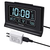 DreamSky Auto Set Digital Alarm Clock with USB Charging Port, 6.6 Inch Large Screen with Time/Date/Temperature Display, Full Range Brightness Dimmer, Auto DST Setting, Snooze, Backup Batteries,12/24Hr