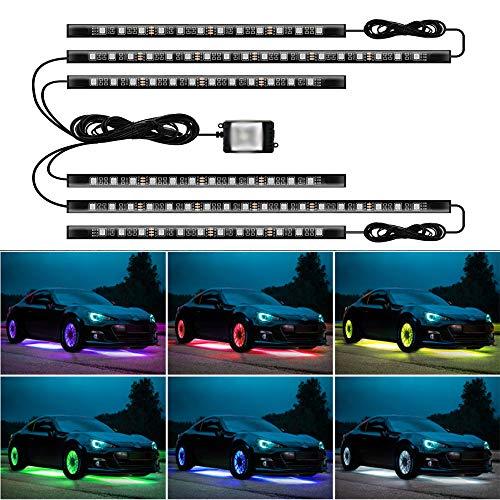 JoaSinc Luce Sottoscocca LED, Bluetooth Luci Strisce sotto Auto Lampade Neon Decorazione Luce Striscia RGB Illuminazione Lampada dell'Atmosfera, Controllo App 12V 300LEDs Luci di Striscia per Auto