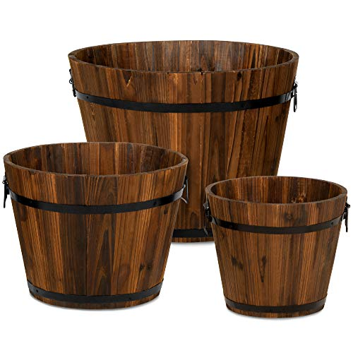 Best Choice Products Set of 3 Rustic Wood Bucket Barrel Flower Garden Planters Set w/Drainage Holes, Multiple Sizes