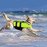 PETLESO Dog Life Jacket, Floatation Vest Pet Adjustable Safety Jacket for Medium Dog Swimming Surfing Boating, Green M
