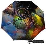 Paraguas de viaje Protección UV a prueba de viento (pintura colorida del violín)