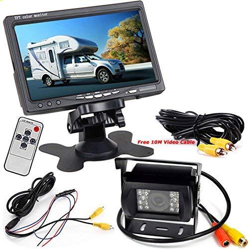 12 V-24 V auto 17,8cm TFT LCD HD monitor + Bus camion rimorchi LED a infrarossi per visione notturna impermeabile retrovisore inversione di backup fotocamera con 10m cavo video