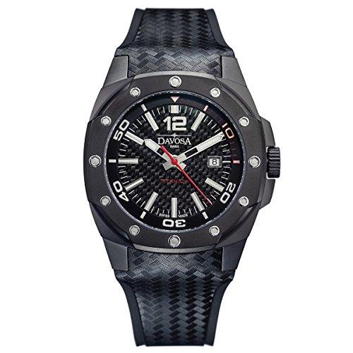 Davosa Swiss Titanium 16156255 Herren-Armbanduhr, echtes Leder und Gummi