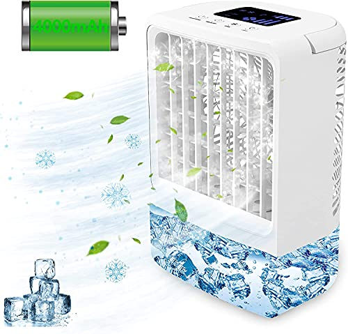 Enfriador de Aire, EEIEER 4000mAh 4-EN-1 Mini Aire Acondicionado Portatil USB Enfriador Aire acondicionado Móvil, Enfriador de Aire Humidificador Ventilador Purificador con 3 Velocidades 7 luces LED