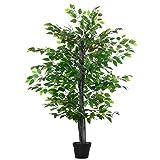 Outsunny rbol de Ficus Artificial de 145 cm de Altura 756 Hojas con Maceta para Decoracin de Hogar Interiores y Exteriores Verde
