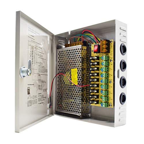 Weishuo 9 canales CCTV fuente de alimentación 12V 10A salida caja de fuente de alimentación distribuida para CCTV DVR sistema de seguridad y cámaras