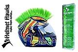 Helmet Hawks Motorcycle Helmet Mohawk w/Sticky Hook and Loop Fastener Adhesive - Fluorescent Lime Green