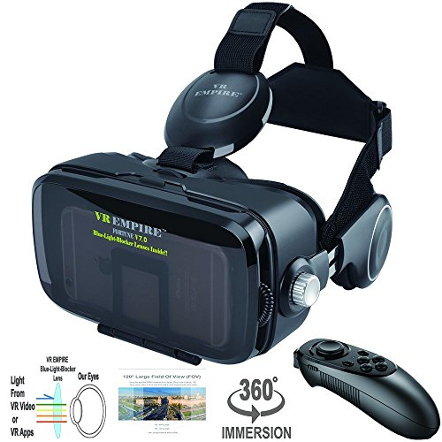 VR Headset Virtual Reality Headset 3D Glasses with 120FOV, Anti-Blue-Light Lenses, Stereo Headset, for All Smartphones with Length Below 6.3 inch Such as iPhone & Samsung HTC HP LG etc.
