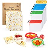 AKIMO Reusable Beeswax Food Wrap and Mesh Produce Bag Set - 3 Pack Organic Beeswax Wraps Sandwich Food Storage Wraps Washable and 12 Pack Mesh Bags with Tare Weight Tags for Grocery Fruits