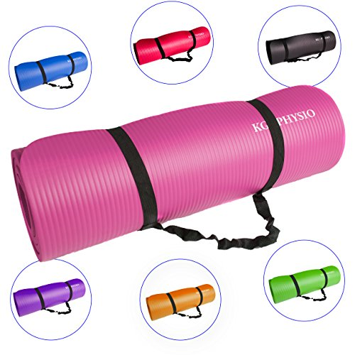 Premium Yogamatte, Gymnastikmatte, Fitnessmatte, Trainingsmatte oder zuhause mit Schultertragegurt 183 x 60 x 1cm