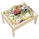 Teamson Kids-Country Train Véhicule Monde Miniature Circuit Table de Jeu Activité 85 Pièces Jouet pour Enfant, PS-T0004, Bois, Rouge