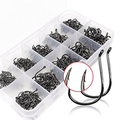 500PCS Angelhaken aus Kohlenstoffstahl Fisch Jig Haken mit Loch Fishing Tackle Box 3 # -12 # 10 Größen
