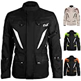 Adventure/Touring Men's Motorcycle Jacket Adv Dual Sport Racing CE Armored Waterproof Windproof Jackets All-Weather (Jet-Black, 4XL)