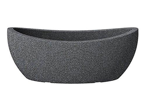 Scheurich Wave Globe Jardiniere, ovale Pflanzschale aus Kunststoff, Schwarz-Granit, 58 cm lang, 24 cm breit, 23 cm hoch, 15 l Vol.