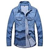 Jeans de Jeans Chemises à Manches Longues Chemise pour Hommes Denim Porter Veste Veste de Cow -Boy (Light Blue,XX-Large)