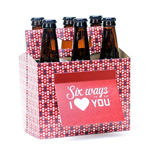 Beer Valentines Day Gifts for Him or Her - Six Pack Greeting Card Box (Set of 4) - Paper Anniversary Gifts for Him, Craft Beer Gifts for Men, Women, Boyfriend, Man Gifts, Beer Lovers