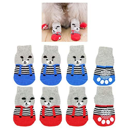 8 pezzi calzini per cani antiscivolo, simpatico orso modello per interni controllo della trazione...