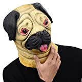 PARTY STORY Pug Dog Latex Animal Head Mask Novelty Halloween Costume Rubber Masks Brown