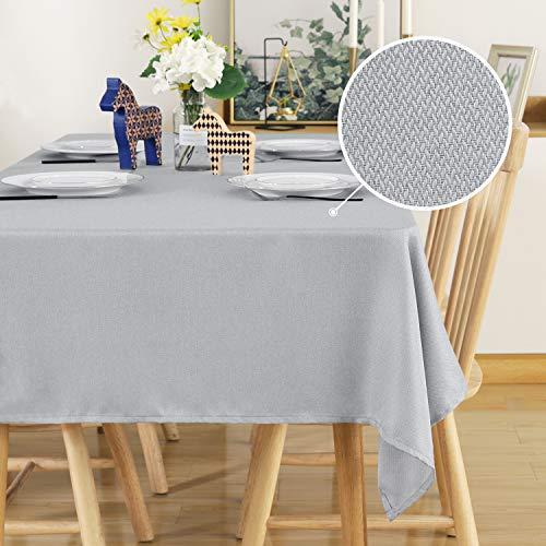 Deconovo Leinenoptik Tischdecke Wasserabweisend Tischwäsche Lotuseffekt Tischtuch 140x200 cm Hellgrau