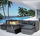 NICESOUL 118''L PE Rattan Patio Furniture Sectional Sofa Sets with Cushions Outdoor PE Wicker Conversation Sets Including CSA Aproved Fire Pit Table with Blue Stones & Wind Glass