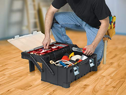 Product Image 4: KETER 22 Inch Cantilever Plastic Portable Tool Box Organizer with Metal Latches for Small Parts, Hardware and Tool Storage and Organization