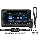 Power Acoustik PH-620 6.2' Double Din in Dash DVD Receiver with License Plate Style Backup Camera and Sots Lanyard Bundle