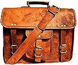 Axuvel Maletín de cuero con asa de bolsillo de 15 x 11 pulgadas, para portátil, bolso de mensajería, bolso de oficina, bolsa de ordenador, de cuero, para portátil, como regalo para hombres