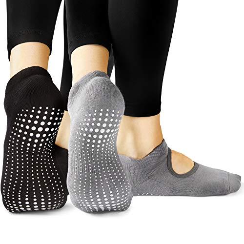 LA Active Calze Presa Antiscivolo Cotone Per Yoga Pilates Danza Sbarra - Ballet (Noire Black e...