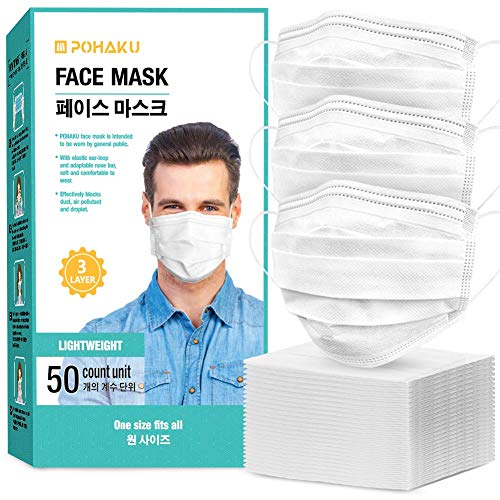 POHAKU Disposable Resipator with Extra Soft Elastic Ear Loop and 3 Ply Breathable (50 PCS) - White