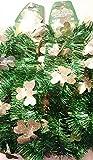 2 St. Patrick's Green Tinsel 9-Ft Garlands with GOLD Shamrocks, Total 18 Ft