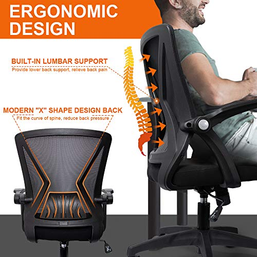 Product Image 4: QOROOS Mid Back Mesh Office Chair Ergonomic Swivel Black Mesh Desk Chair Flip Up Arms with Lumbar Support Computer Chair Adjustable Height Task Chairs